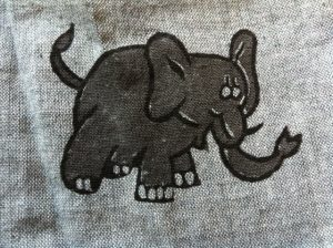 elephant block print from organic shirt. ethical fashion from Where Does It Come From? wheredoesitcomefrom.co.uk