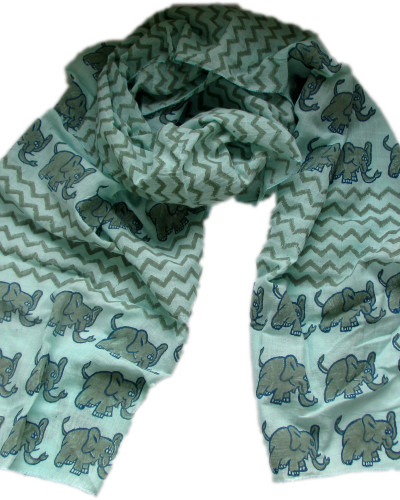 blue elephant scarf coiled