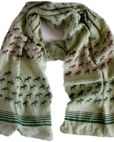 green scarf with red grey green moose coiled
