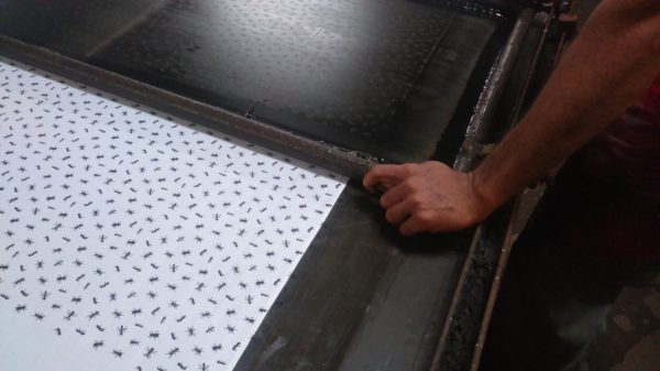 Ant design being hand printed onto organic cotton for Where Does It Come From? shirt production wheredoesitcomefrom.co.uk