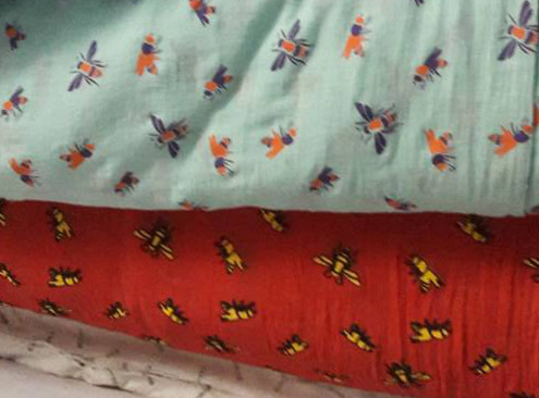 Bee Fabric for Where Does It Come From? ethical traceable scarves wheredoesitcomefrom.co.uk