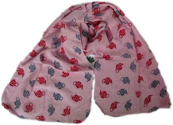 pink teapot scarf from Where Does It Come From? ethical traceable and fairtrade wheredoesitcomefrom.co.uk