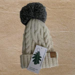 Cream alpaca hat with grey bobble