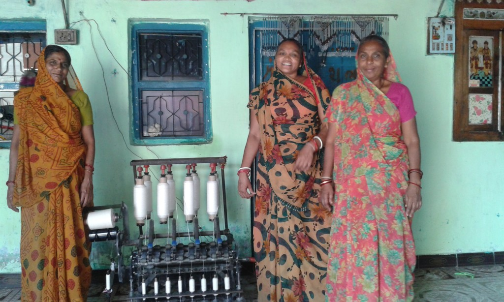 Three lady spinners. The story of your handwoven khadi cotton bag from Where Does It Come From? wheredoesitcomefrom.co.uk
