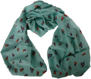 handwoven bee scarf aqua from Where Does It Come From? ethical traceable fairtrade wheredoesitcomefrom.co.uk