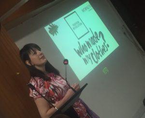 Jo Salter speaking on Fashion Revolution at Ahmedabad INFD April 2016