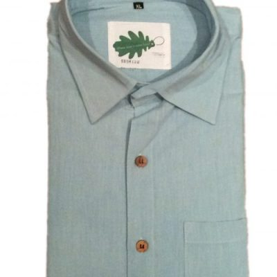 organic pale blue shirt from Where Does It Come From? ethical fashion