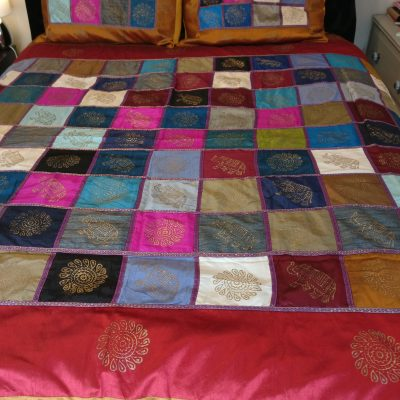 ethical home furnishings Indian Silk Patchwork Throw Bohohomes